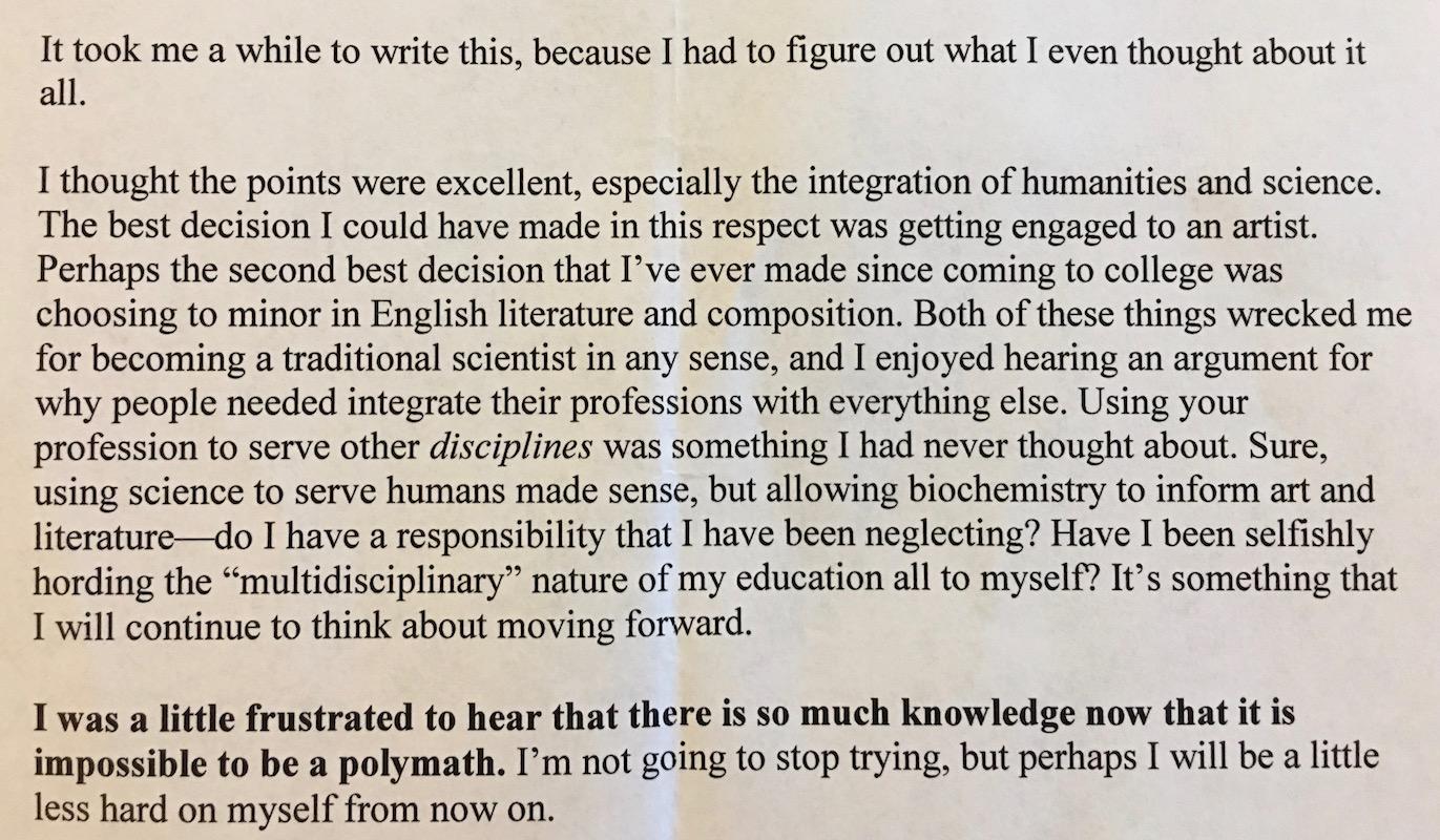 JBU student response